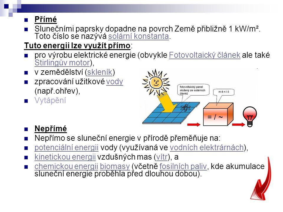 Přímé Slunečními paprsky dopadne na povrch Země přibližně 1 kW/m². Toto číslo se nazývá solární konstanta.solární konstanta Tuto energii lze využít př