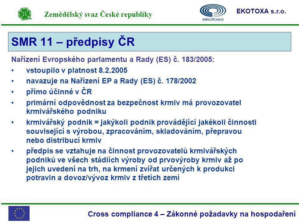 Zemědělský svaz České republiky EKOTOXA s.r.o. Cross compliance 4 – Zákonné požadavky na hospodaření Nařízení Evropského parlamentu a Rady (ES) č. 183