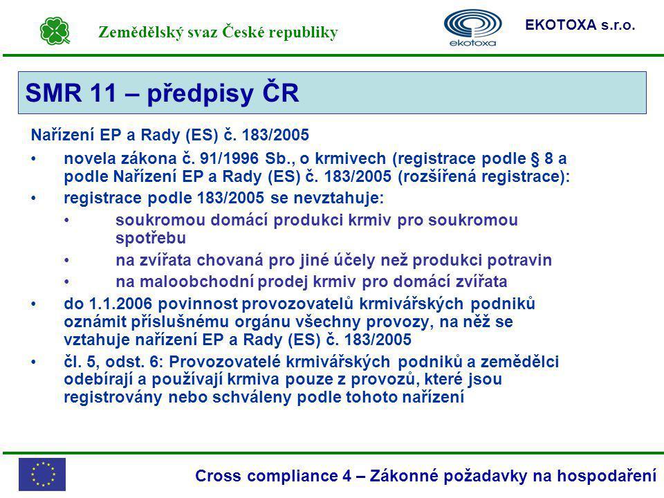 Zemědělský svaz České republiky EKOTOXA s.r.o. Cross compliance 4 – Zákonné požadavky na hospodaření Nařízení EP a Rady (ES) č. 183/2005 novela zákona
