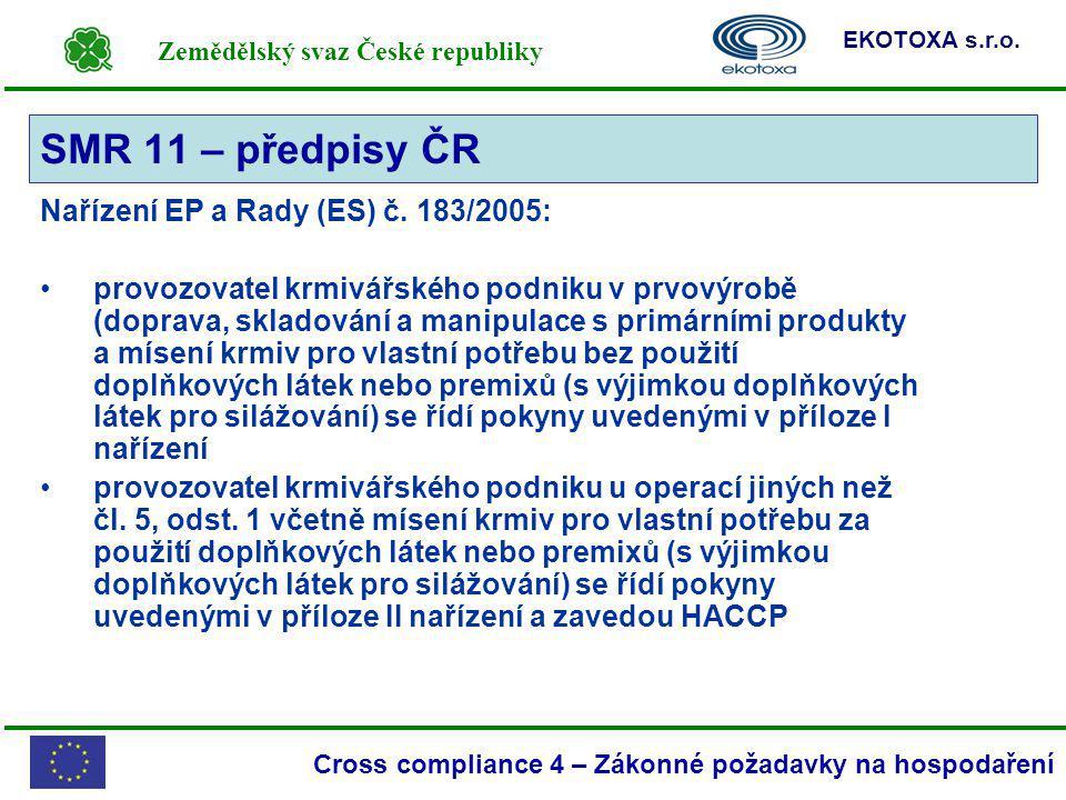 Zemědělský svaz České republiky EKOTOXA s.r.o. Cross compliance 4 – Zákonné požadavky na hospodaření Nařízení EP a Rady (ES) č. 183/2005: provozovatel
