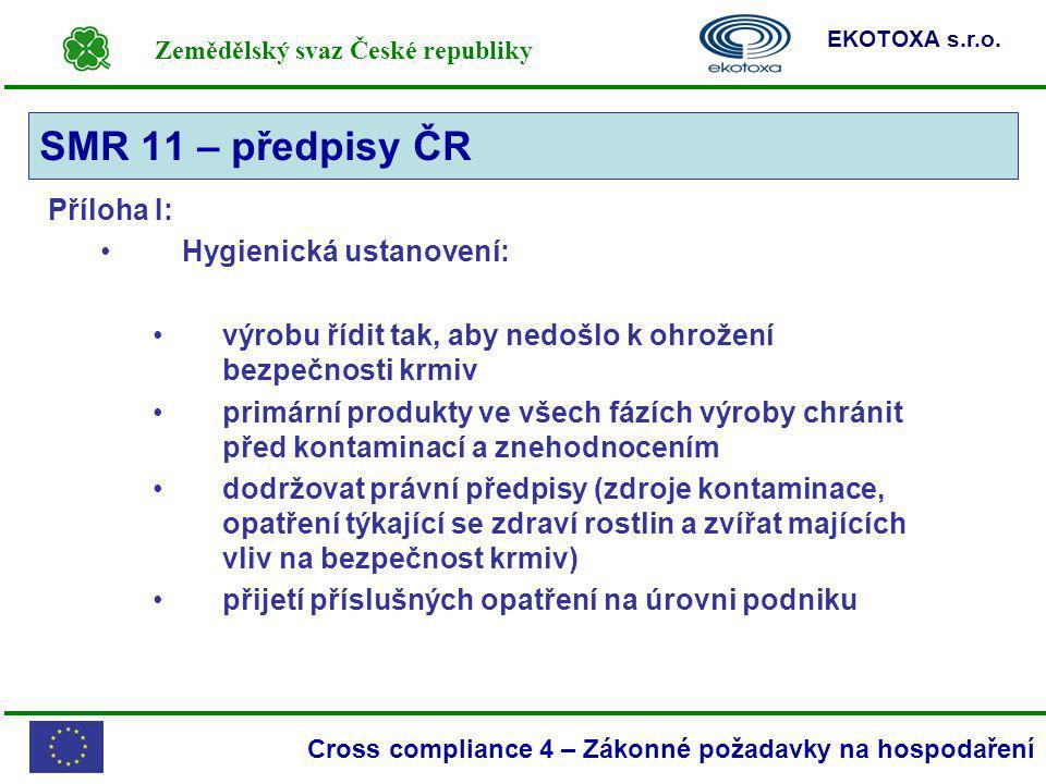 Zemědělský svaz České republiky EKOTOXA s.r.o. Cross compliance 4 – Zákonné požadavky na hospodaření Příloha I: Hygienická ustanovení: výrobu řídit ta