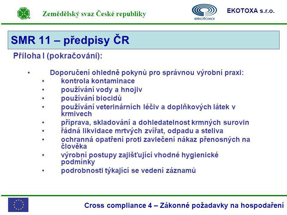 Zemědělský svaz České republiky EKOTOXA s.r.o. Cross compliance 4 – Zákonné požadavky na hospodaření Příloha I (pokračování): Doporučení ohledně pokyn