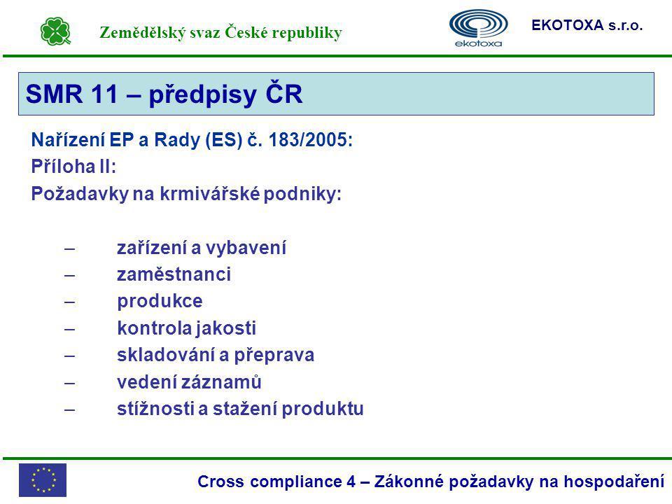 Zemědělský svaz České republiky EKOTOXA s.r.o. Cross compliance 4 – Zákonné požadavky na hospodaření Nařízení EP a Rady (ES) č. 183/2005: Příloha II: