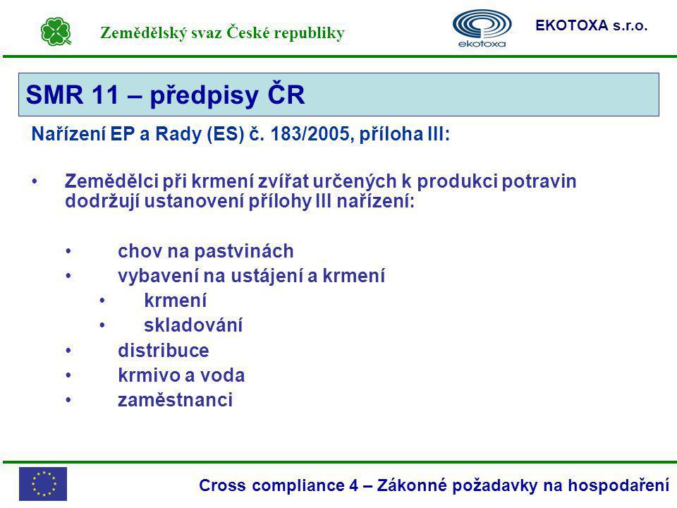 Zemědělský svaz České republiky EKOTOXA s.r.o. Cross compliance 4 – Zákonné požadavky na hospodaření Nařízení EP a Rady (ES) č. 183/2005, příloha III: