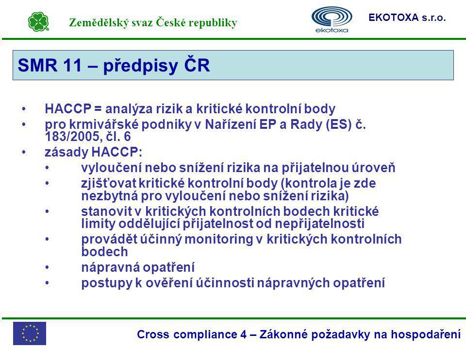 Zemědělský svaz České republiky EKOTOXA s.r.o. Cross compliance 4 – Zákonné požadavky na hospodaření HACCP = analýza rizik a kritické kontrolní body p