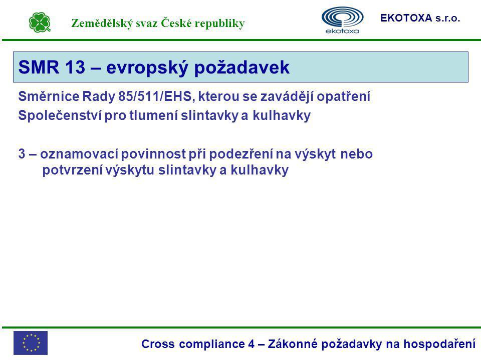 Zemědělský svaz České republiky EKOTOXA s.r.o. Cross compliance 4 – Zákonné požadavky na hospodaření Směrnice Rady 85/511/EHS, kterou se zavádějí opat