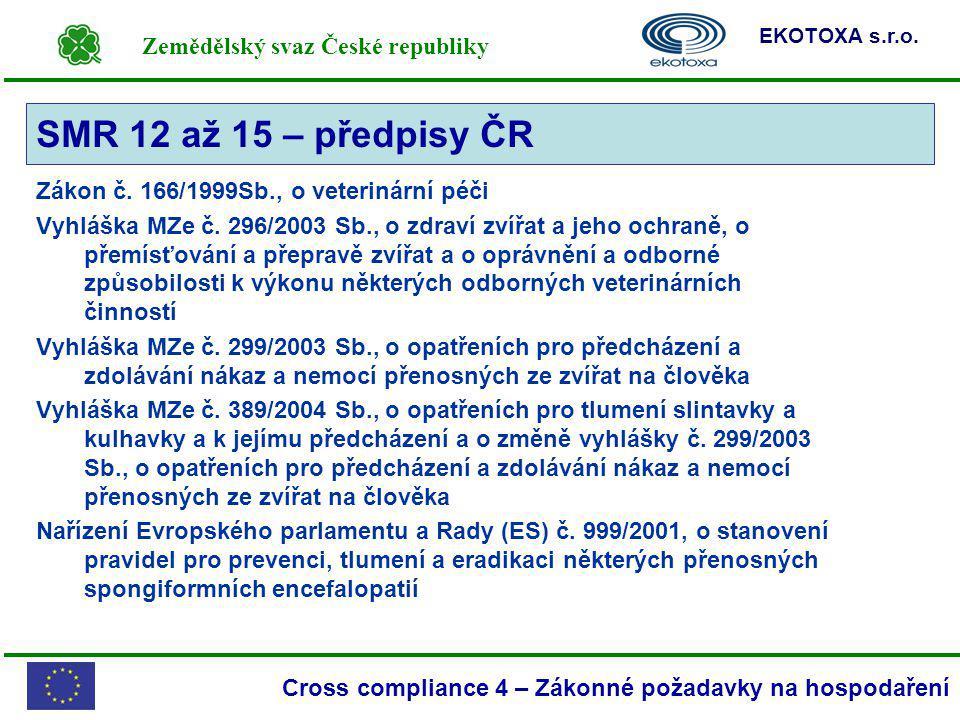 Zemědělský svaz České republiky EKOTOXA s.r.o. Cross compliance 4 – Zákonné požadavky na hospodaření Zákon č. 166/1999Sb., o veterinární péči Vyhláška