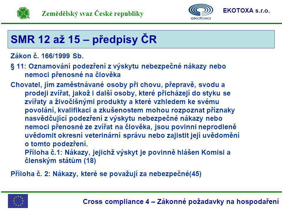 Zemědělský svaz České republiky EKOTOXA s.r.o. Cross compliance 4 – Zákonné požadavky na hospodaření Zákon č. 166/1999 Sb. § 11: Oznamování podezření