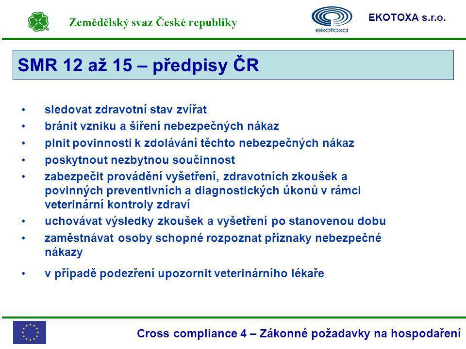 Zemědělský svaz České republiky EKOTOXA s.r.o. Cross compliance 4 – Zákonné požadavky na hospodaření sledovat zdravotní stav zvířat bránit vzniku a ší