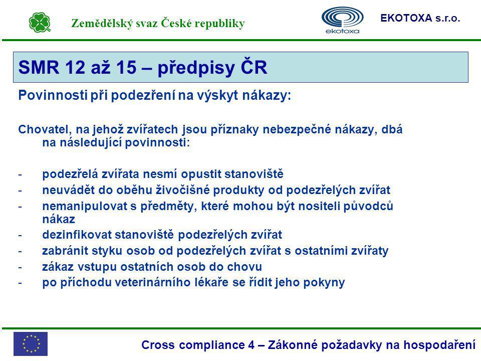 Zemědělský svaz České republiky EKOTOXA s.r.o. Cross compliance 4 – Zákonné požadavky na hospodaření Povinnosti při podezření na výskyt nákazy: Chovat