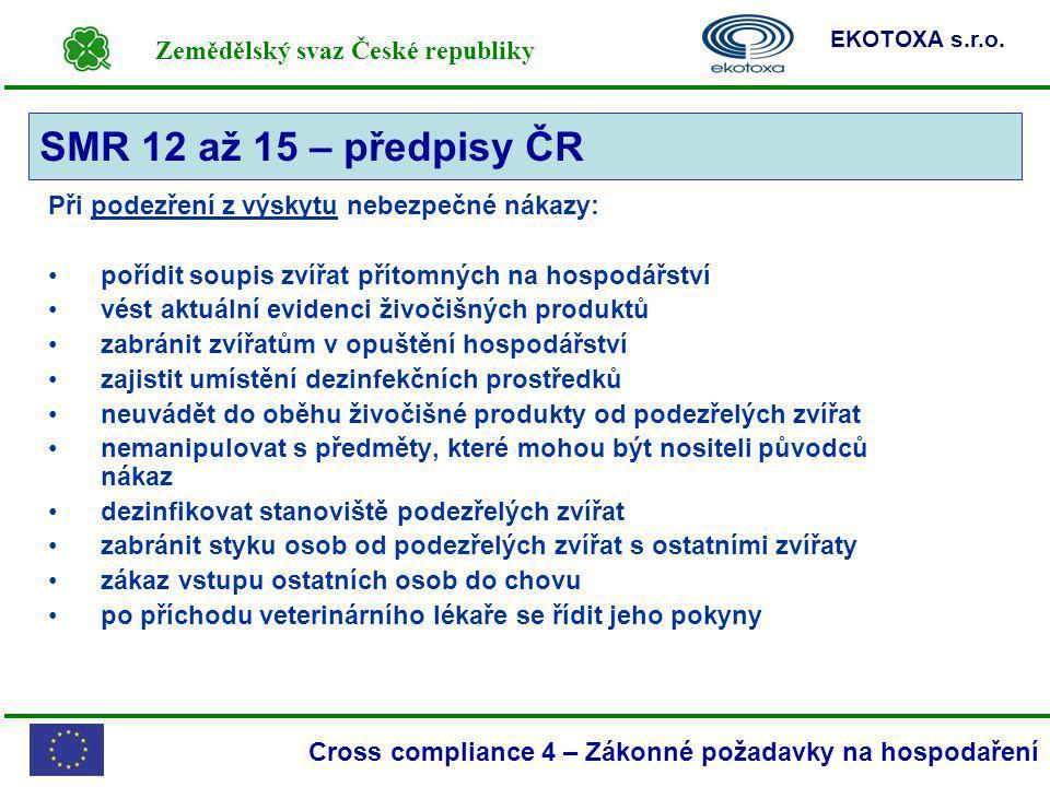 Zemědělský svaz České republiky EKOTOXA s.r.o. Cross compliance 4 – Zákonné požadavky na hospodaření Při podezření z výskytu nebezpečné nákazy: pořídi