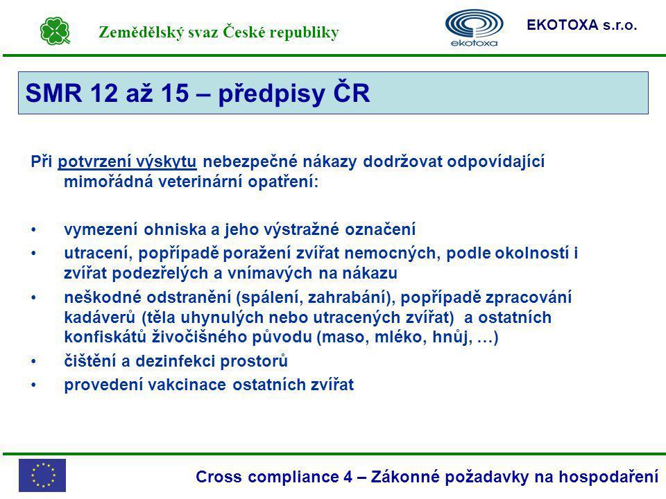 Zemědělský svaz České republiky EKOTOXA s.r.o. Cross compliance 4 – Zákonné požadavky na hospodaření Při potvrzení výskytu nebezpečné nákazy dodržovat