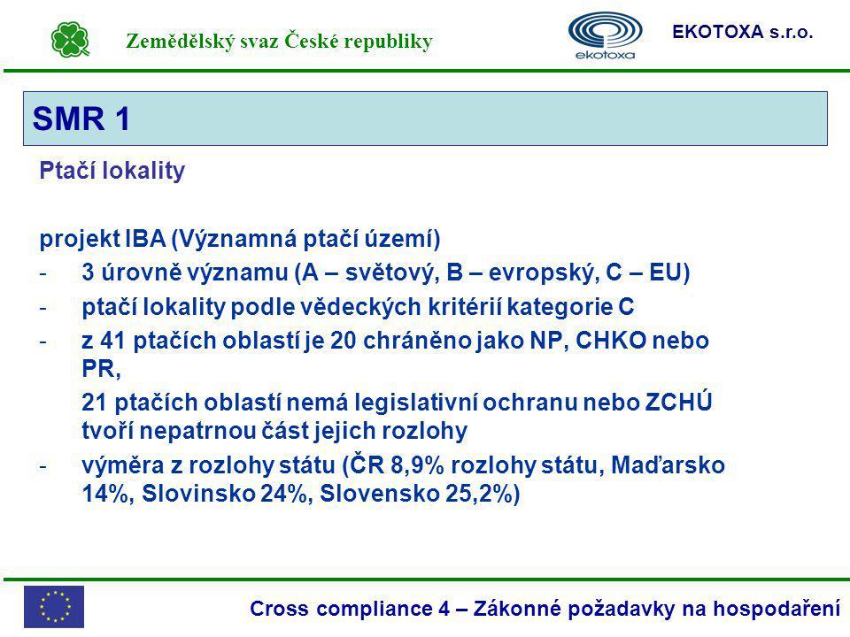 Zemědělský svaz České republiky EKOTOXA s.r.o. Cross compliance 4 – Zákonné požadavky na hospodaření Ptačí lokality projekt IBA (Významná ptačí území)