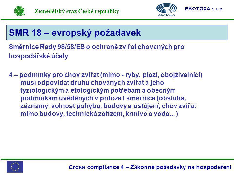 Zemědělský svaz České republiky EKOTOXA s.r.o. Cross compliance 4 – Zákonné požadavky na hospodaření Směrnice Rady 98/58/ES o ochraně zvířat chovaných
