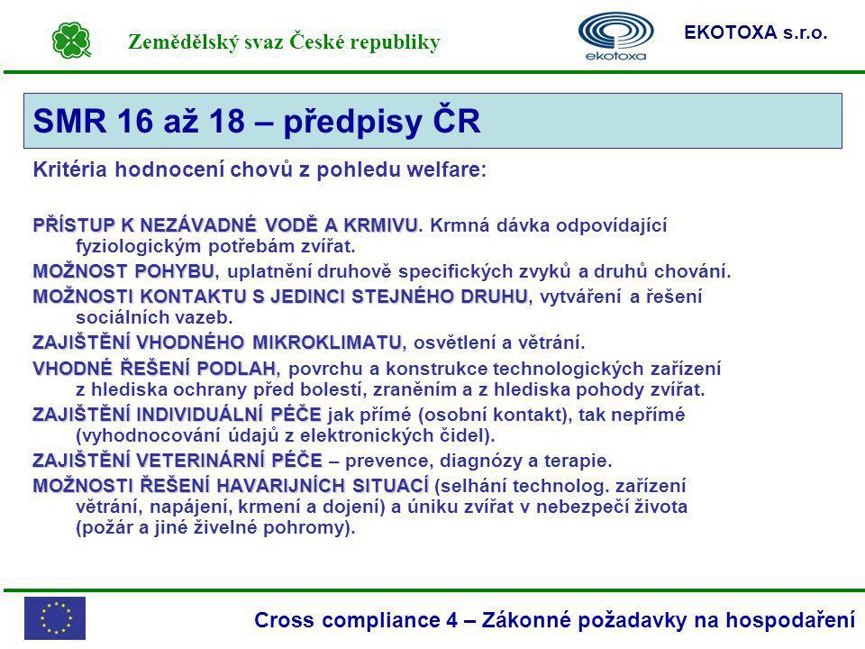 Zemědělský svaz České republiky EKOTOXA s.r.o. Cross compliance 4 – Zákonné požadavky na hospodaření Kritéria hodnocení chovů z pohledu welfare: PŘÍST