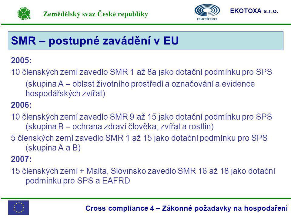 Zemědělský svaz České republiky EKOTOXA s.r.o. Cross compliance 4 – Zákonné požadavky na hospodaření 2005: 10 členských zemí zavedlo SMR 1 až 8a jako