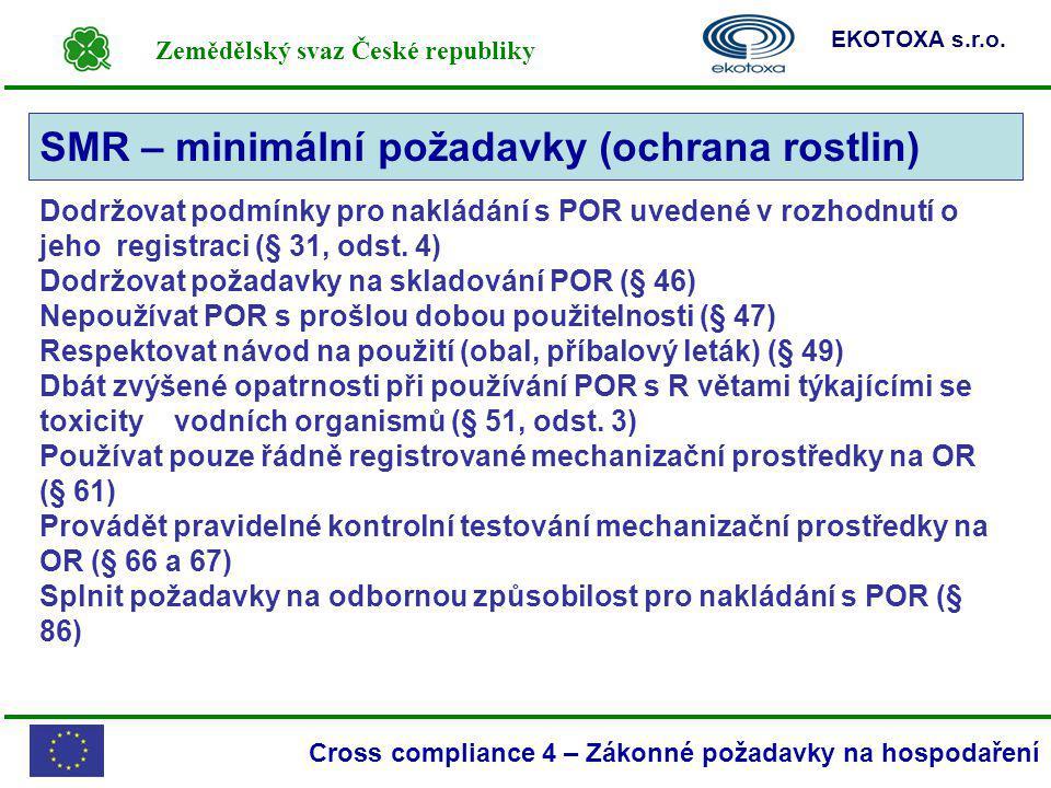 Zemědělský svaz České republiky EKOTOXA s.r.o. Cross compliance 4 – Zákonné požadavky na hospodaření SMR – minimální požadavky (ochrana rostlin) Dodrž