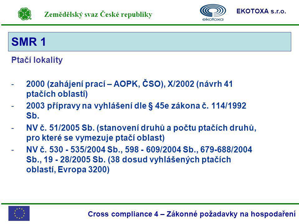 Zemědělský svaz České republiky EKOTOXA s.r.o. Cross compliance 4 – Zákonné požadavky na hospodaření Ptačí lokality -2000 (zahájení prací – AOPK, ČSO)