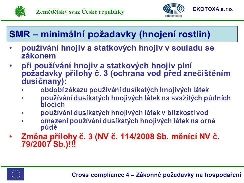 Zemědělský svaz České republiky EKOTOXA s.r.o. Cross compliance 4 – Zákonné požadavky na hospodaření používání hnojiv a statkových hnojiv v souladu se