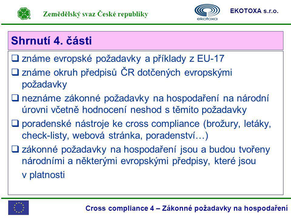 Zemědělský svaz České republiky EKOTOXA s.r.o. Cross compliance 4 – Zákonné požadavky na hospodaření Shrnutí 4. části  známe evropské požadavky a pří