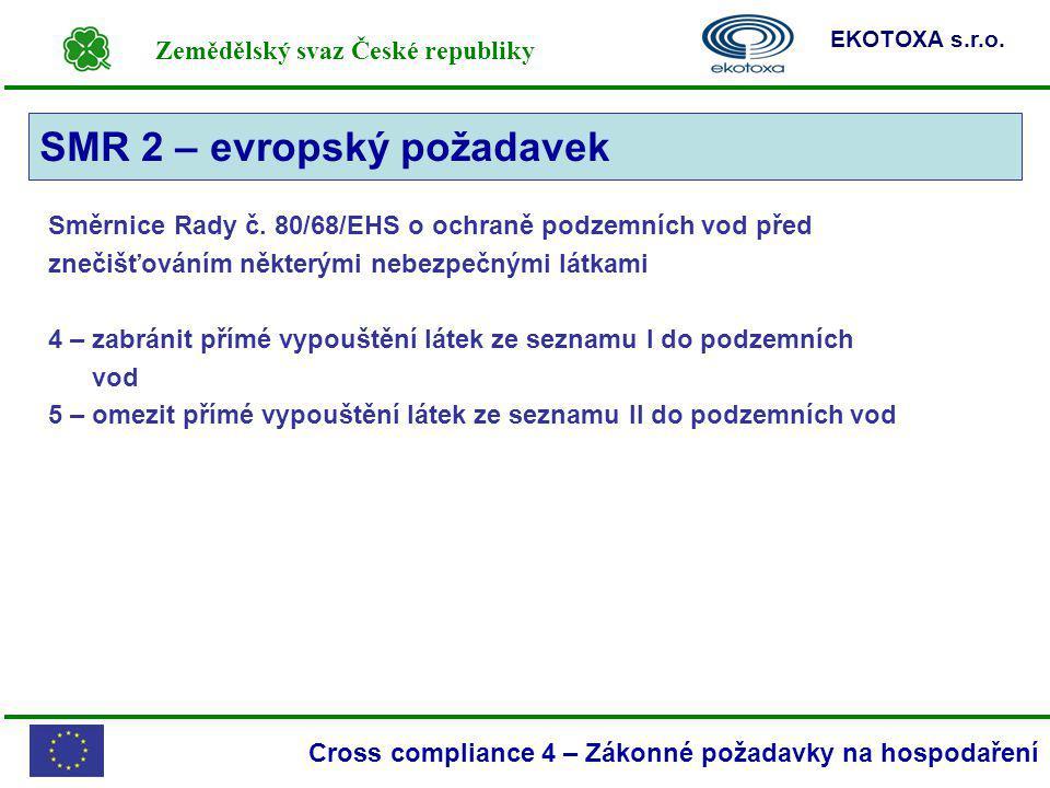 Zemědělský svaz České republiky EKOTOXA s.r.o. Cross compliance 4 – Zákonné požadavky na hospodaření Směrnice Rady č. 80/68/EHS o ochraně podzemních v