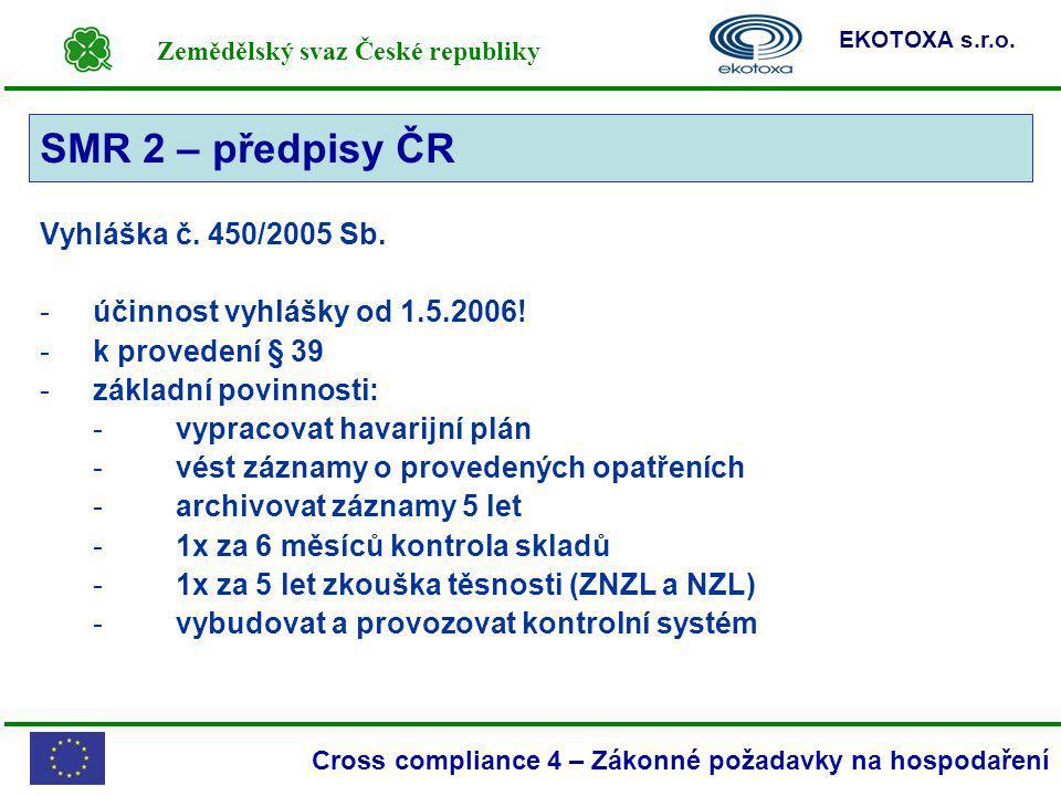 Zemědělský svaz České republiky EKOTOXA s.r.o. Cross compliance 4 – Zákonné požadavky na hospodaření SMR 2 Vyhláška č. 450/2005 Sb. -účinnost vyhlášky