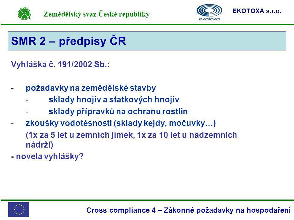Zemědělský svaz České republiky EKOTOXA s.r.o. Cross compliance 4 – Zákonné požadavky na hospodaření SMR 2 Vyhláška č. 191/2002 Sb.: -požadavky na zem