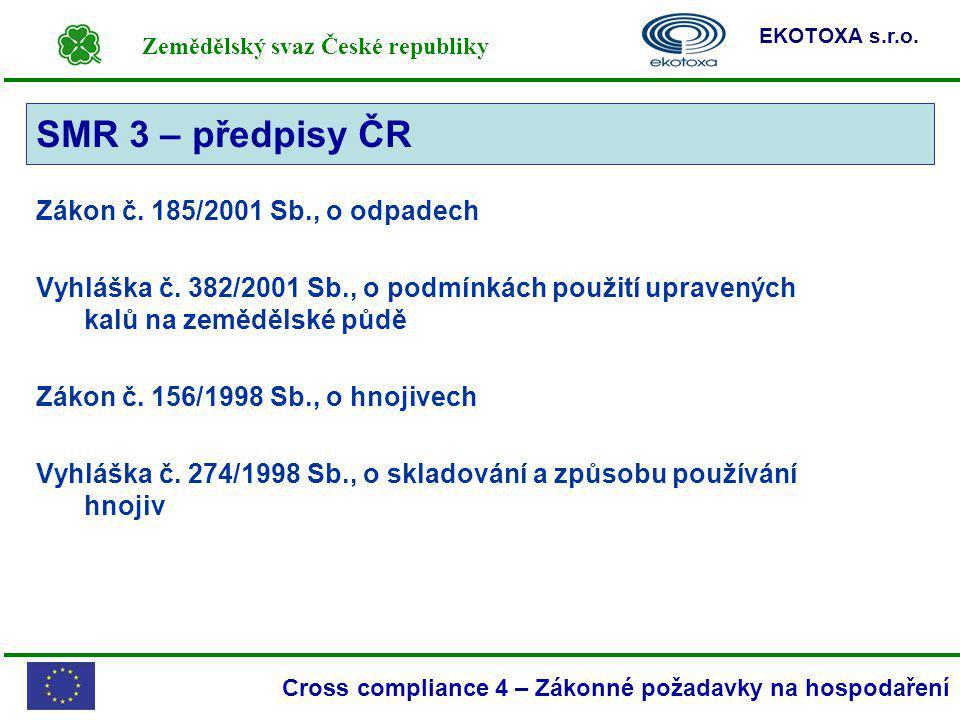 Zemědělský svaz České republiky EKOTOXA s.r.o. Cross compliance 4 – Zákonné požadavky na hospodaření SMR 3 Zákon č. 185/2001 Sb., o odpadech Vyhláška