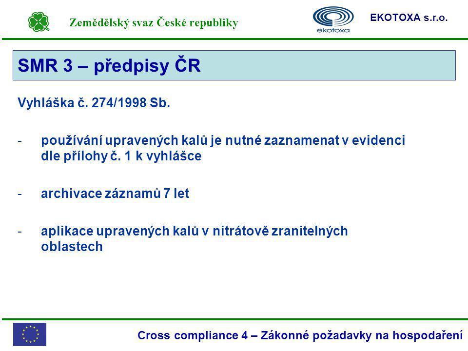 Zemědělský svaz České republiky EKOTOXA s.r.o. Cross compliance 4 – Zákonné požadavky na hospodaření SMR 3 Vyhláška č. 274/1998 Sb. -používání upraven