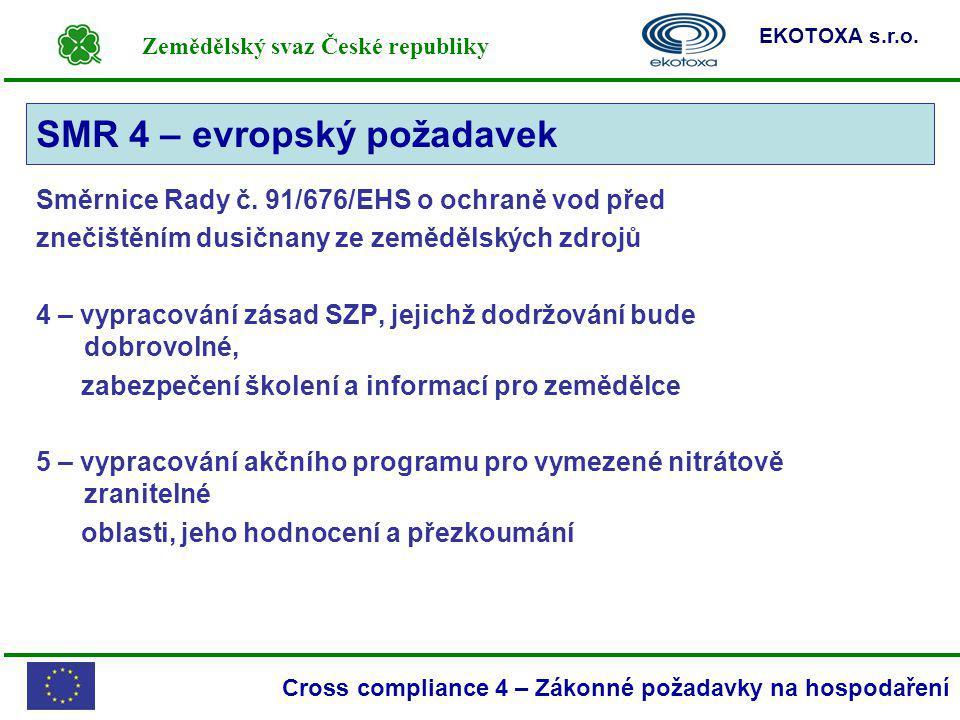 Zemědělský svaz České republiky EKOTOXA s.r.o. Cross compliance 4 – Zákonné požadavky na hospodaření Směrnice Rady č. 91/676/EHS o ochraně vod před zn