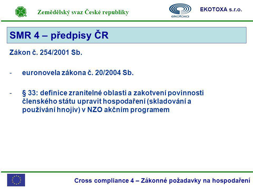 Zemědělský svaz České republiky EKOTOXA s.r.o. Cross compliance 4 – Zákonné požadavky na hospodaření Zákon č. 254/2001 Sb. -euronovela zákona č. 20/20
