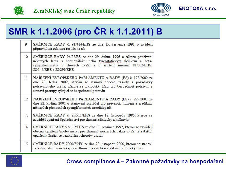 Zemědělský svaz České republiky EKOTOXA s.r.o. Cross compliance 4 – Zákonné požadavky na hospodaření SMR k 1.1.2006 (pro ČR k 1.1.2011) B