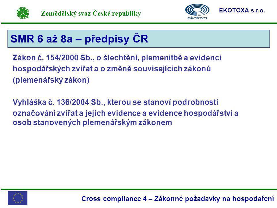 Zemědělský svaz České republiky EKOTOXA s.r.o. Cross compliance 4 – Zákonné požadavky na hospodaření Zákon č. 154/2000 Sb., o šlechtění, plemenitbě a