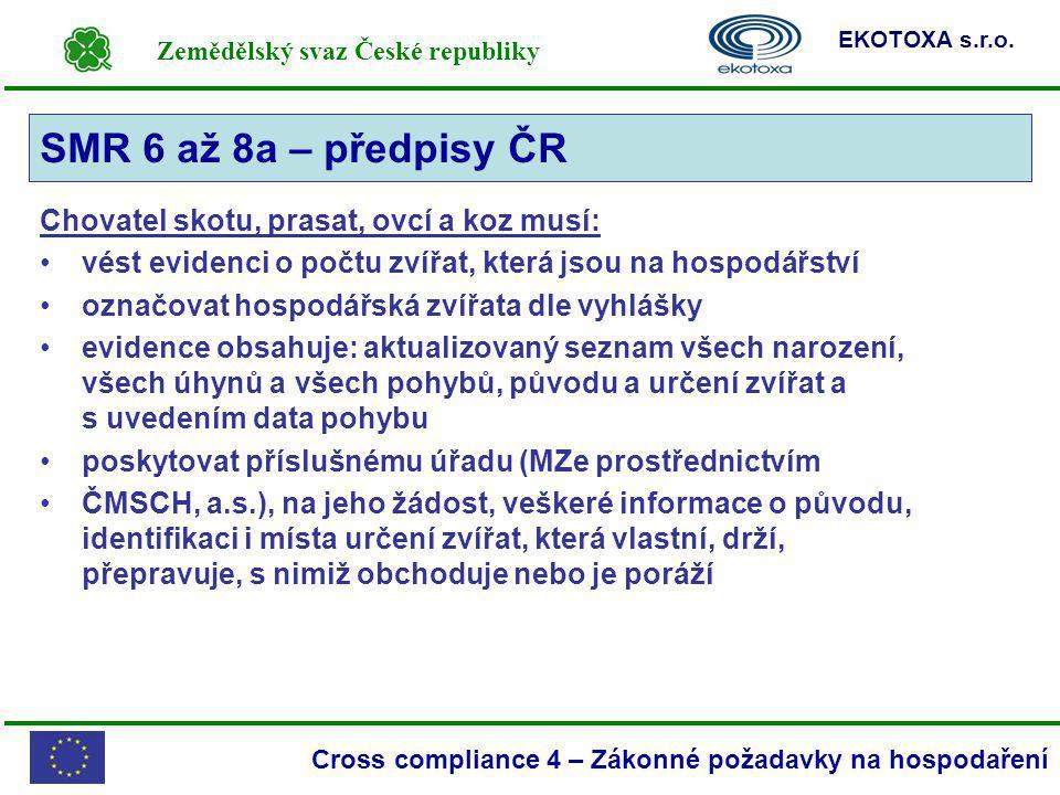 Zemědělský svaz České republiky EKOTOXA s.r.o. Cross compliance 4 – Zákonné požadavky na hospodaření Chovatel skotu, prasat, ovcí a koz musí: vést evi