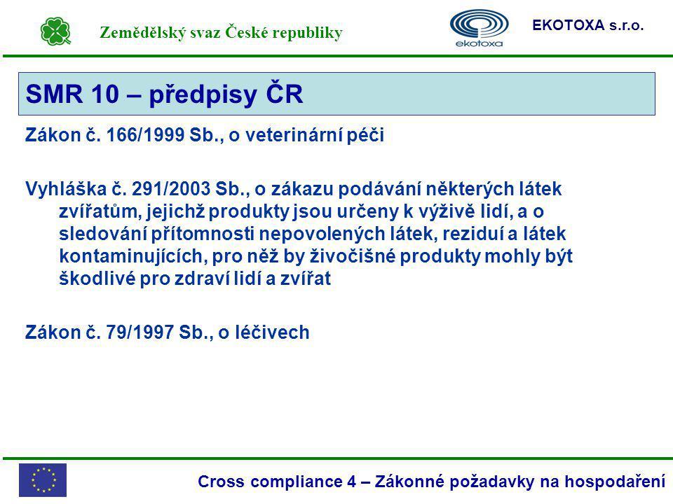 Zemědělský svaz České republiky EKOTOXA s.r.o. Cross compliance 4 – Zákonné požadavky na hospodaření Zákon č. 166/1999 Sb., o veterinární péči Vyhlášk