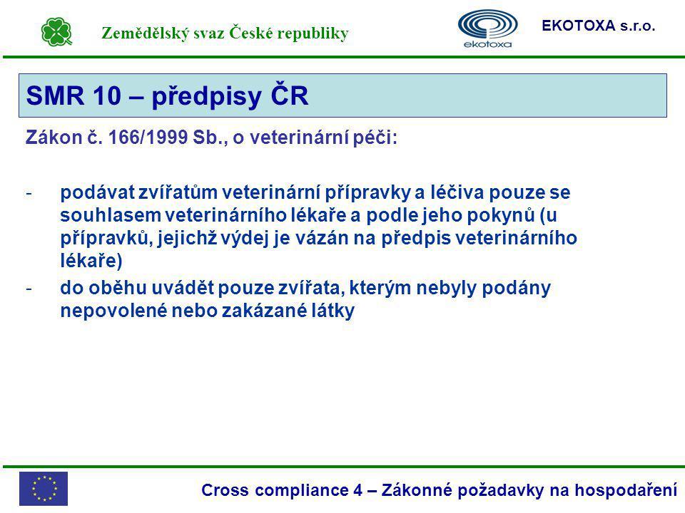 Zemědělský svaz České republiky EKOTOXA s.r.o. Cross compliance 4 – Zákonné požadavky na hospodaření Zákon č. 166/1999 Sb., o veterinární péči: -podáv