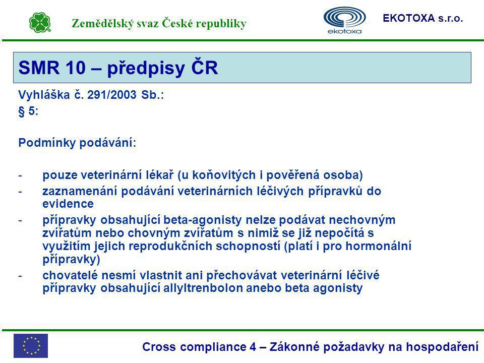 Zemědělský svaz České republiky EKOTOXA s.r.o. Cross compliance 4 – Zákonné požadavky na hospodaření Vyhláška č. 291/2003 Sb.: § 5: Podmínky podávání: