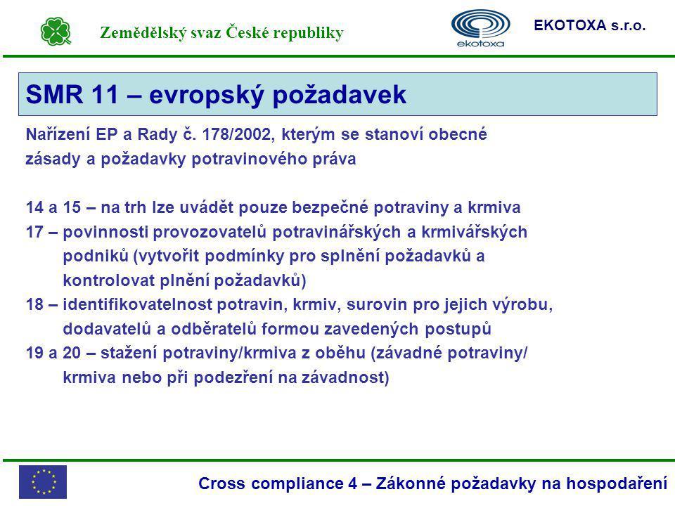 Zemědělský svaz České republiky EKOTOXA s.r.o. Cross compliance 4 – Zákonné požadavky na hospodaření Nařízení EP a Rady č. 178/2002, kterým se stanoví