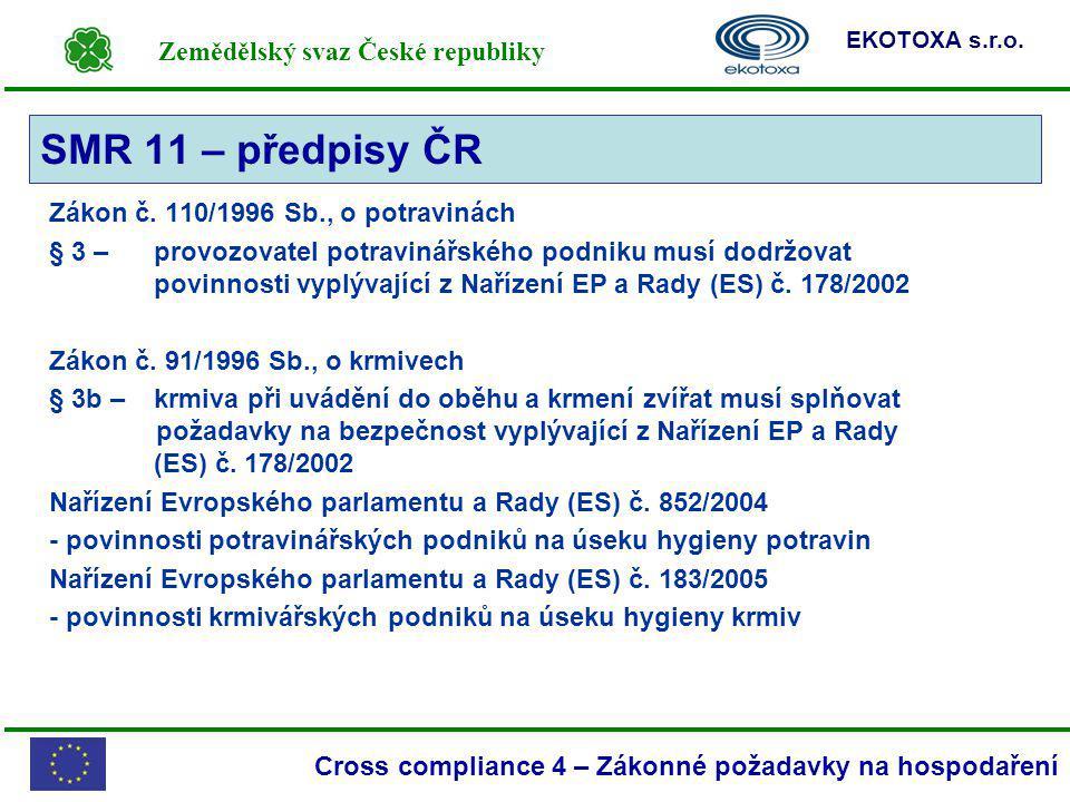 Zemědělský svaz České republiky EKOTOXA s.r.o. Cross compliance 4 – Zákonné požadavky na hospodaření Zákon č. 110/1996 Sb., o potravinách § 3 – provoz