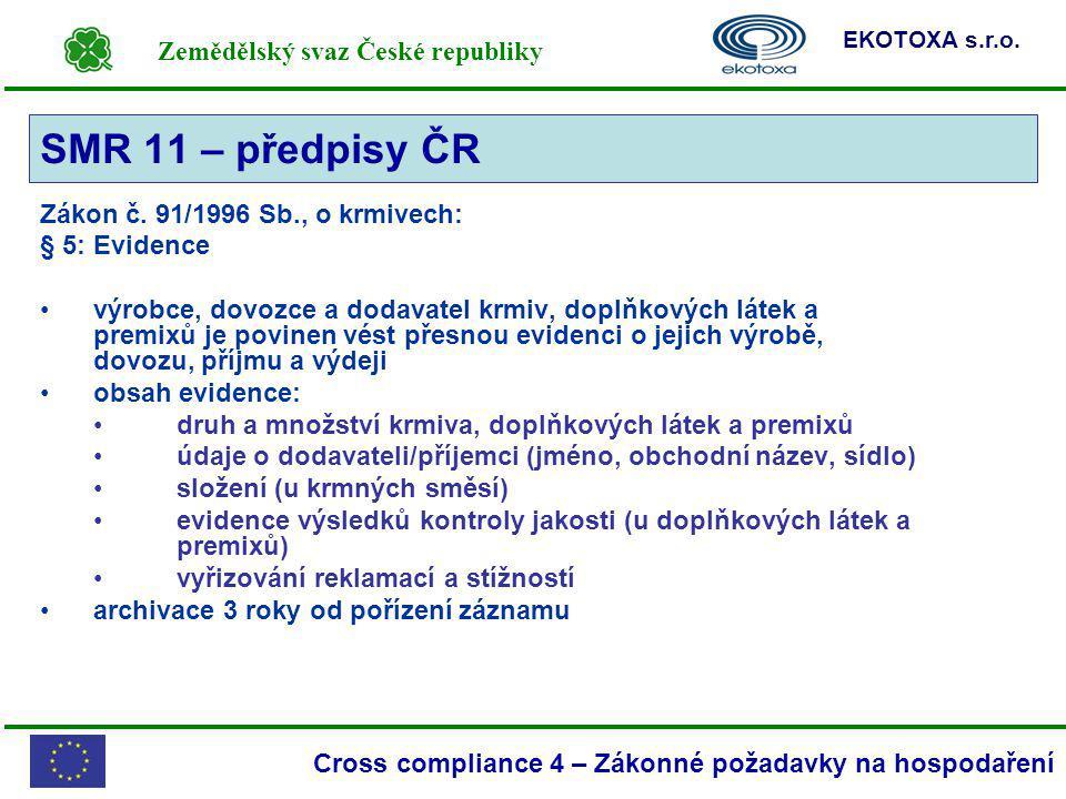 Zemědělský svaz České republiky EKOTOXA s.r.o. Cross compliance 4 – Zákonné požadavky na hospodaření Zákon č. 91/1996 Sb., o krmivech: § 5: Evidence v