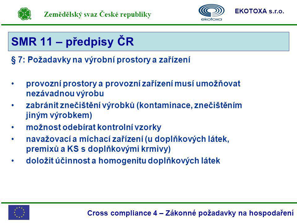 Zemědělský svaz České republiky EKOTOXA s.r.o. Cross compliance 4 – Zákonné požadavky na hospodaření § 7: Požadavky na výrobní prostory a zařízení pro