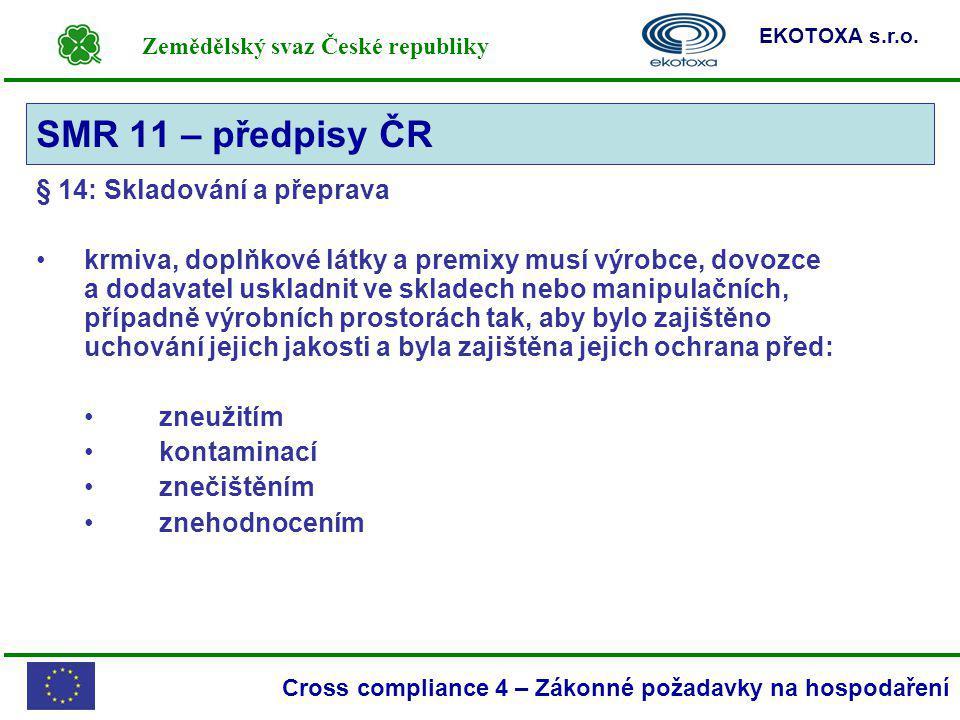 Zemědělský svaz České republiky EKOTOXA s.r.o. Cross compliance 4 – Zákonné požadavky na hospodaření § 14: Skladování a přeprava krmiva, doplňkové lát