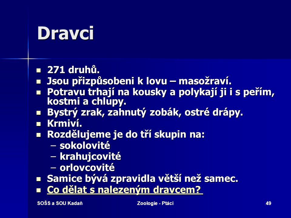 SOŠS a SOU KadaňZoologie - Ptáci49 Dravci 271 druhů.