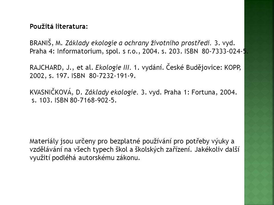 Použitá literatura: BRANIŠ, M. Základy ekologie a ochrany životního prostředí. 3. vyd. Praha 4: Informatorium, spol. s r.o., 2004. s. 203. ISBN 80-733