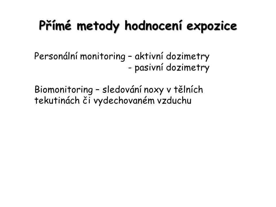 Přímé metody hodnocení expozice Personální monitoring – aktivní dozimetry - pasivní dozimetry Biomonitoring – sledování noxy v tělních tekutinách či v
