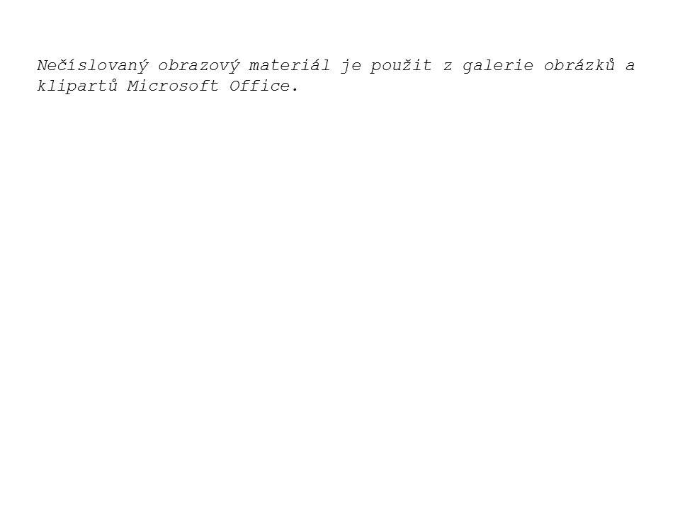 Nečíslovaný obrazový materiál je použit z galerie obrázků a klipartů Microsoft Office.