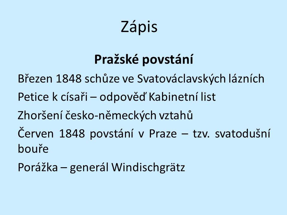 Zápis Pražské povstání Březen 1848 schůze ve Svatováclavských lázních Petice k císaři – odpověď Kabinetní list Zhoršení česko-německých vztahů Červen
