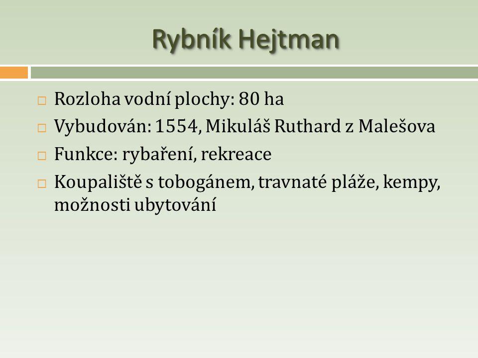 Rybník Hejtman  Rozloha vodní plochy: 80 ha  Vybudován: 1554, Mikuláš Ruthard z Malešova  Funkce: rybaření, rekreace  Koupaliště s tobogánem, trav