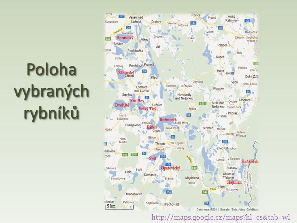 Poloha vybraných rybníků http://maps.google.cz/maps?hl=cs&tab=wl
