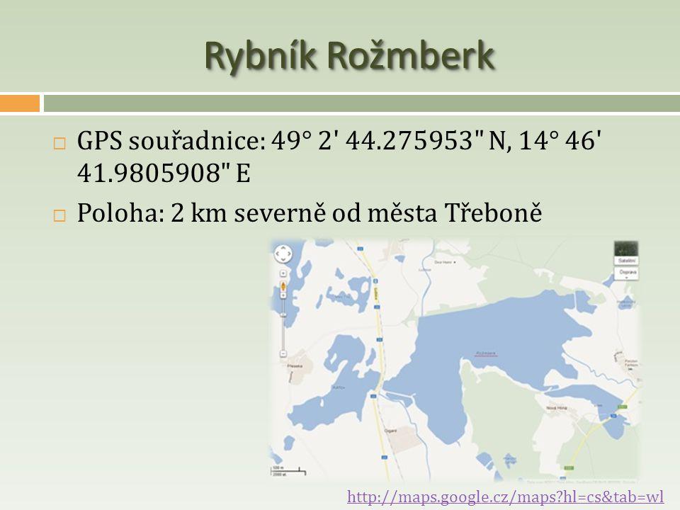 Rybník Rožmberk  GPS souřadnice: 49° 2' 44.275953
